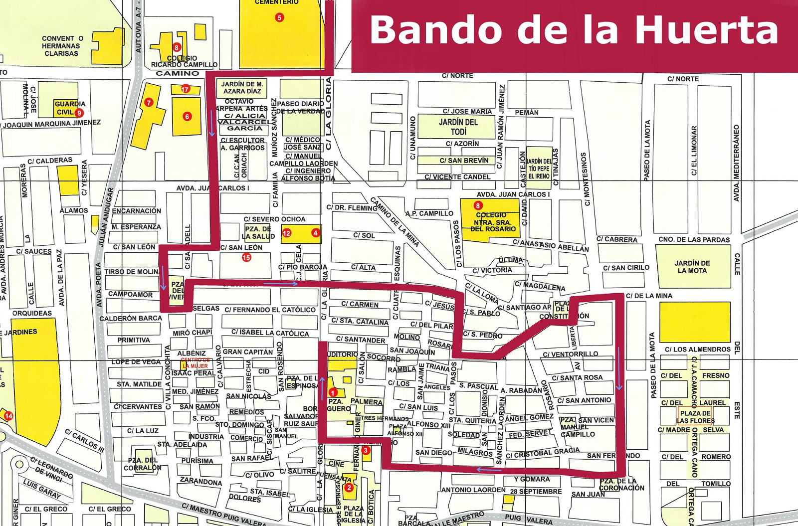 Cortes calles Bando Huerta 2018